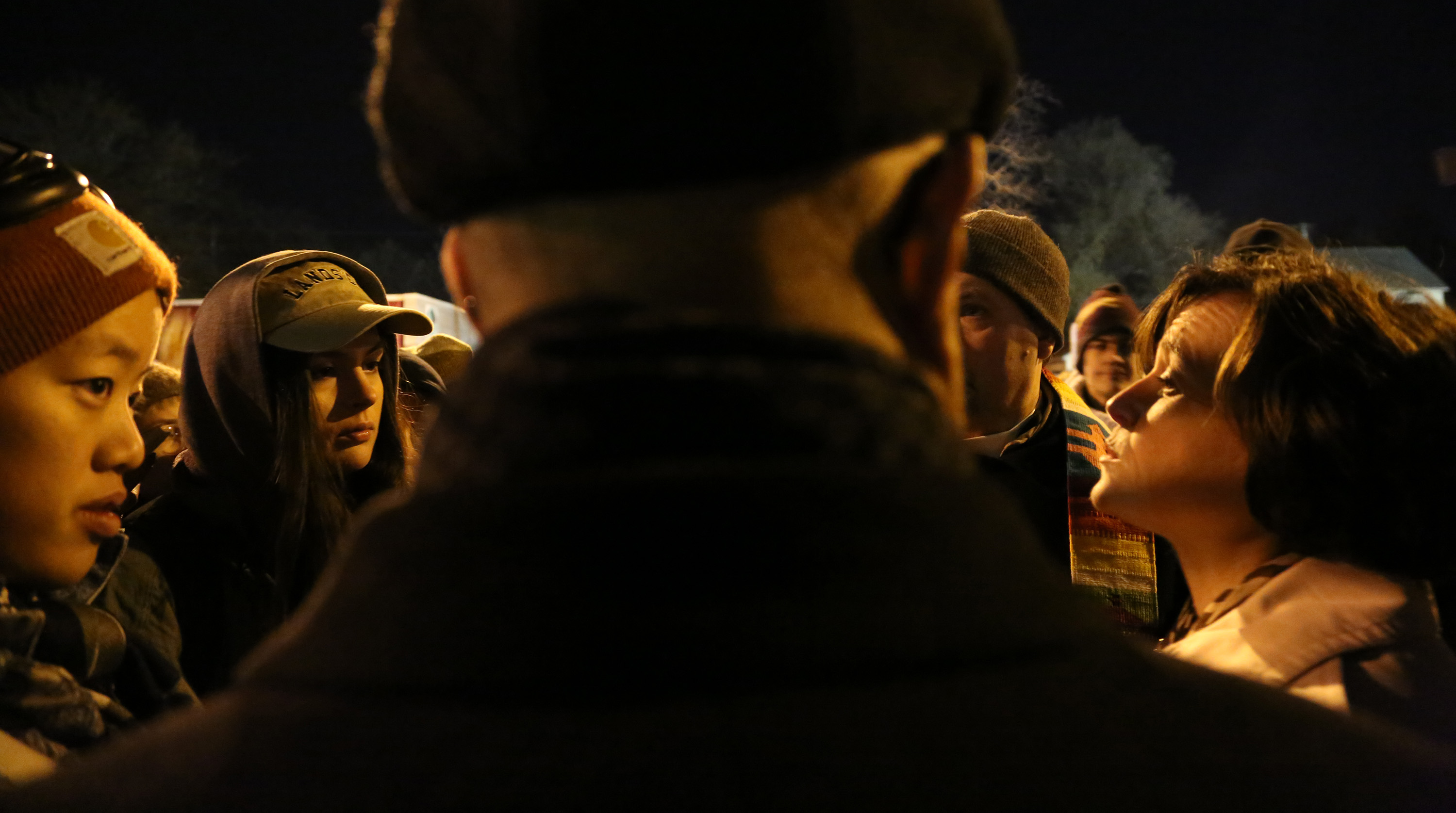 Minneapolis Mayor Betsy Hodges got peppered with questions from protestors about police violence. ] (KYNDELL HARKNESS/STAR TRIBUNE) kyndell.harkness@startribune.com Protesters in front of Minneapolis Fourth Precinct in Minneapolis Min., Thursday November 19, 2015. ORG XMIT: MIN1511192119441166