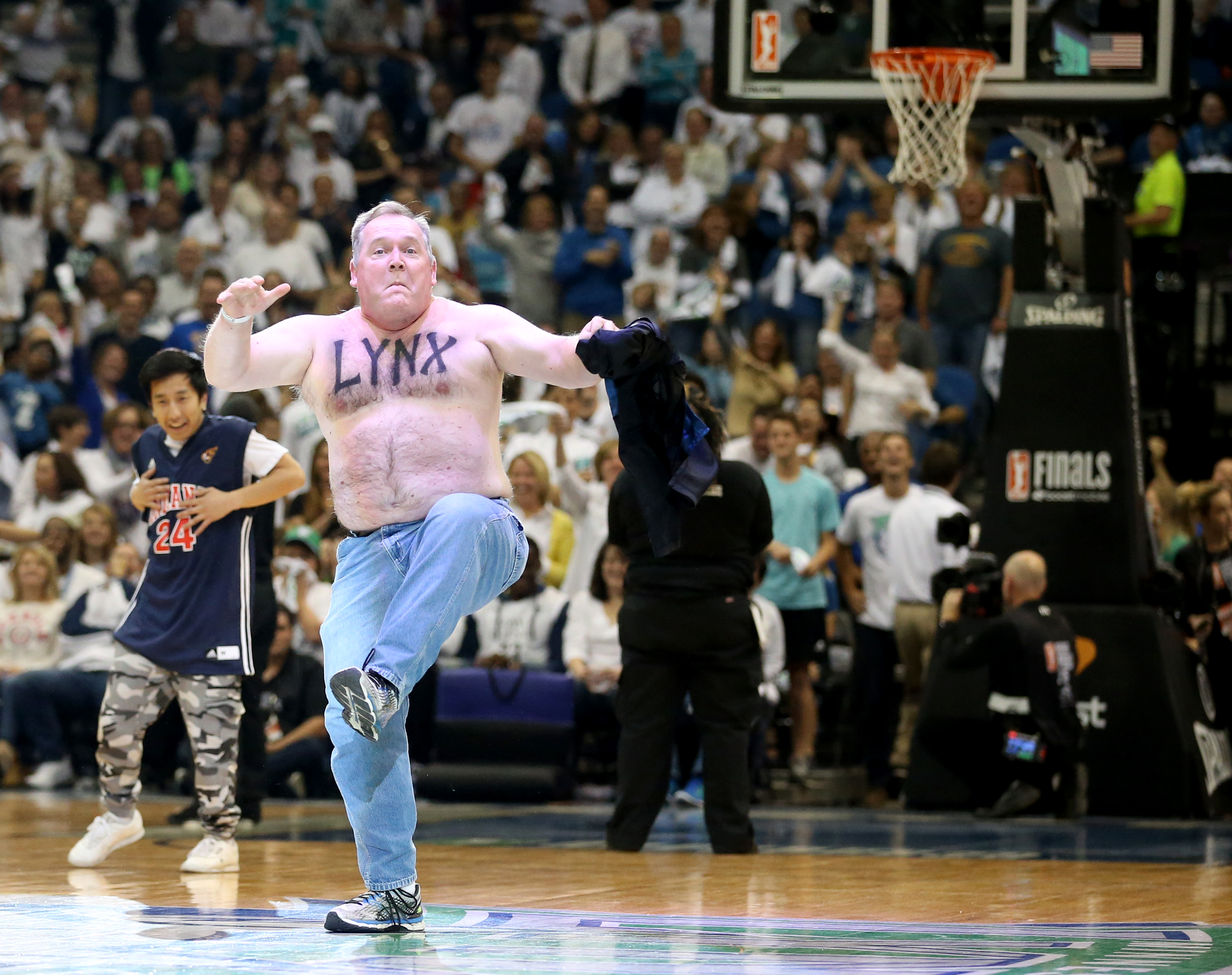 Jiggles danced it up for Prowl during a time out during the first half.   ] (KYNDELL HARKNESS/STAR TRIBUNE) kyndell.harkness@startribune.com  Game 5 of the WNBA finals Lynx vs Indiana at the Target Center in Minneapolis, Min., Wednesday October 14,  2015.